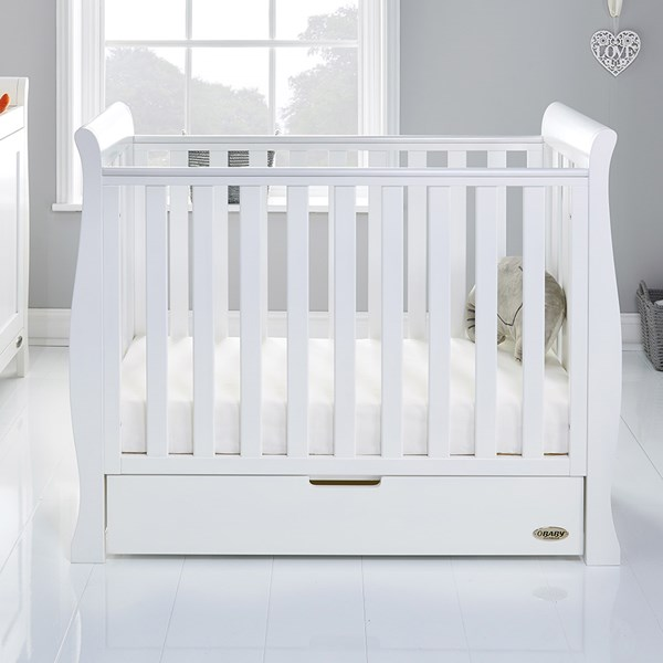 Obaby Stamford Space Saver Cot in White with FREE Mattress