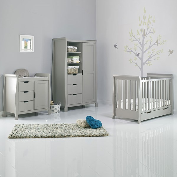Obaby Stamford Mini Sleigh Cot Bed 3 Piece Nursery Set in Warm Grey