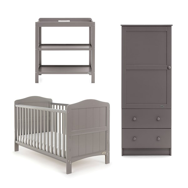 Obaby Whitby Cot Bed 3 Piece Nursery Set in Taupe Grey