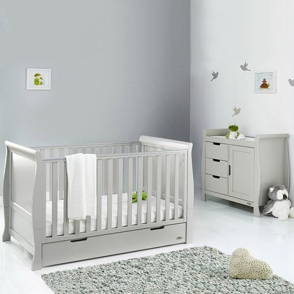 Obaby Stamford Sleigh Cot Bed 2 Piece Nursery Set in Warm Grey
