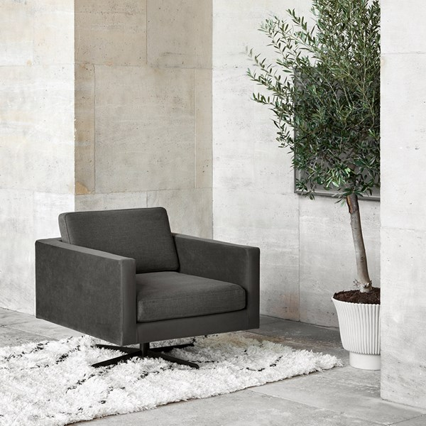 Stunning Dark Grey Velvet and Fabric Armchair
