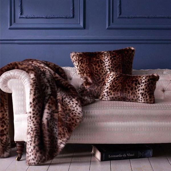 Faux Fur Throw in Ocelot Print