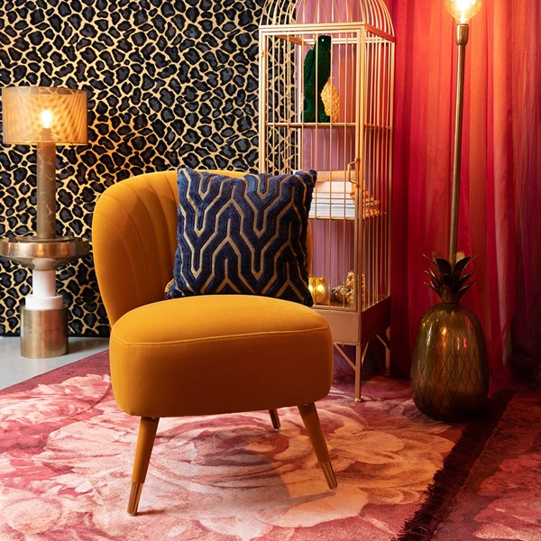 Luxury Velvet Upholstered Chair with Gold Detail