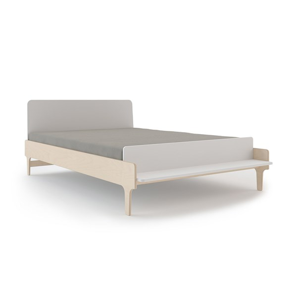 Oeuf River Small Double Bed in White & Birch