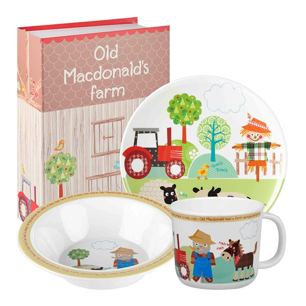Old MacDonald Melamine Dinner Set in Gift Box