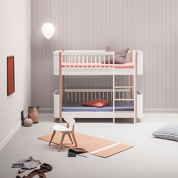 Oliver Furniture Wood Mini+ Kids Low Bunk Bed in White & Oak