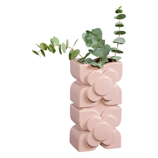 Orla Kiely Ceramic Square Flower Rose Layered Vase