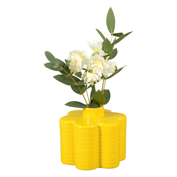 Orla Kiely Ceramic Stem 6 Petal Flower Vase in Dandelion Yellow