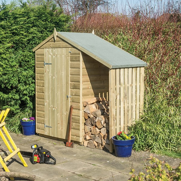 Oxford 4 x 3 Garden Shed & Log Store with Lean To Roof in Natural Timber