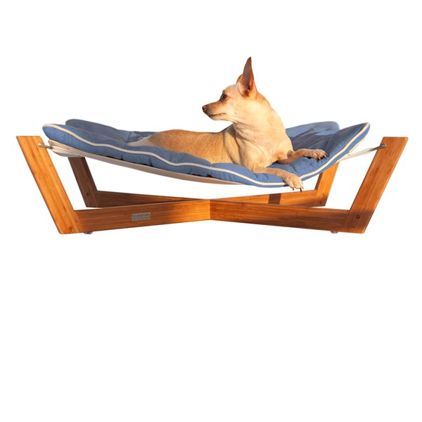 PET HAMMOCK Small Bamboo Dog and Cat Pet Bed with Berry Blue Cushion