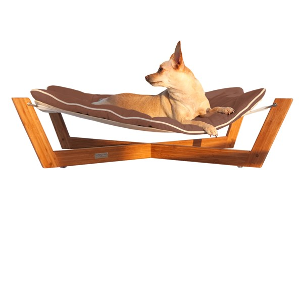DOG HAMMOCK Small Bamboo Dog and Cat Pet Bed in Chestnut Brown