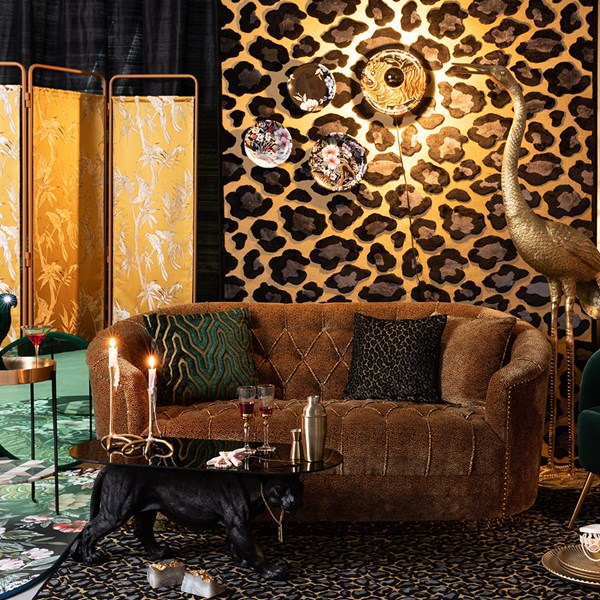 Retro Style Sofa in Panther Animal Print