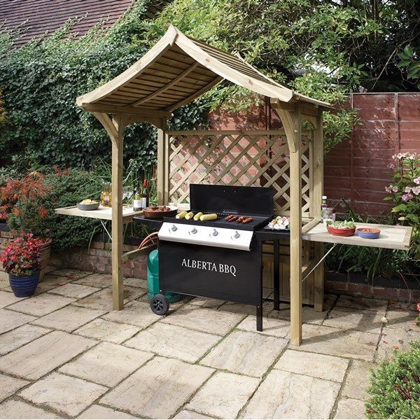 Outdoor Party & BBQ Arbour in Natural Timber by Rowlinson