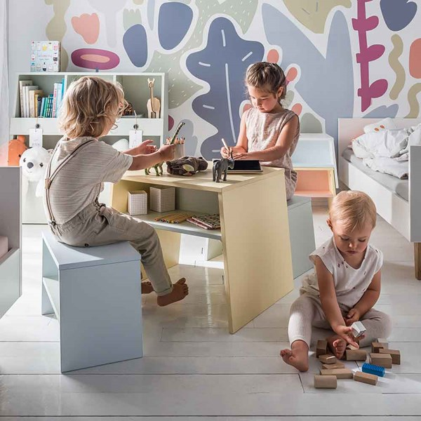 Kids Desk with Storage Shelf and Matching Seat