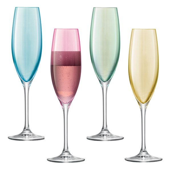 LSA International Polka Champagne Flutes Set of 4