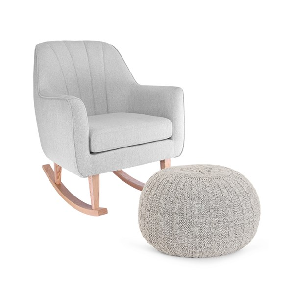 Light Grey Nursery Rocking Chair and Stool