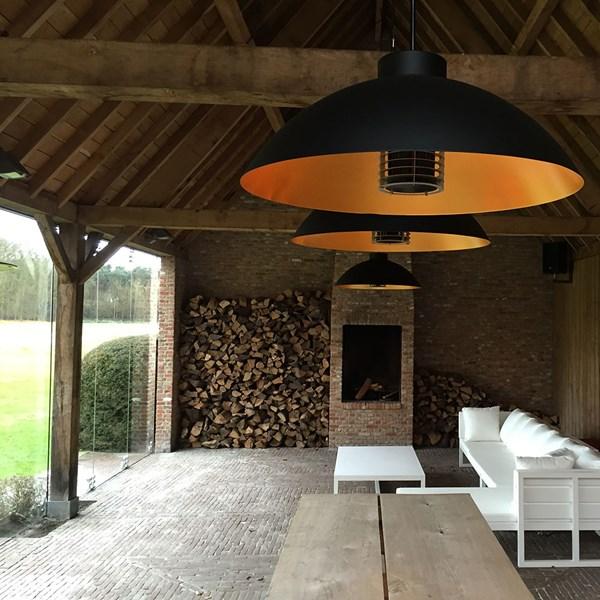 Heatsail Dome Patio Heater Pendant Light in Black