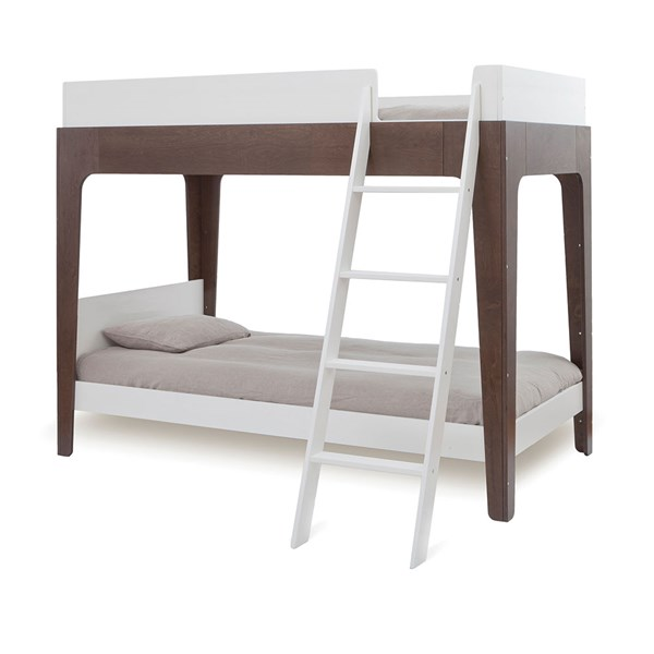 Oeuf Kids Perch Bunk Bed in White and Walnut