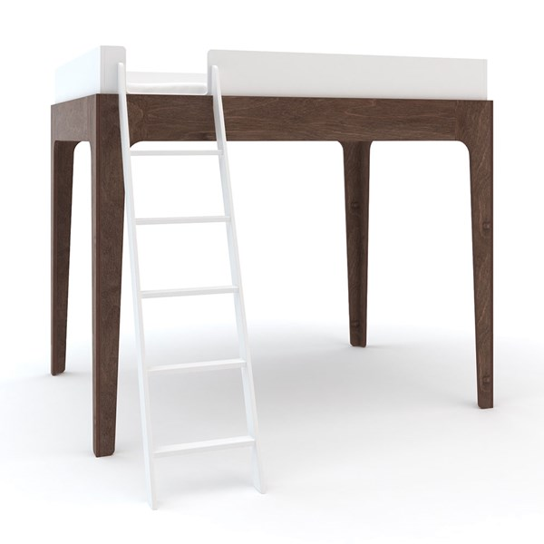 Oeuf Kids Perch Loft Bed in White and Walnut