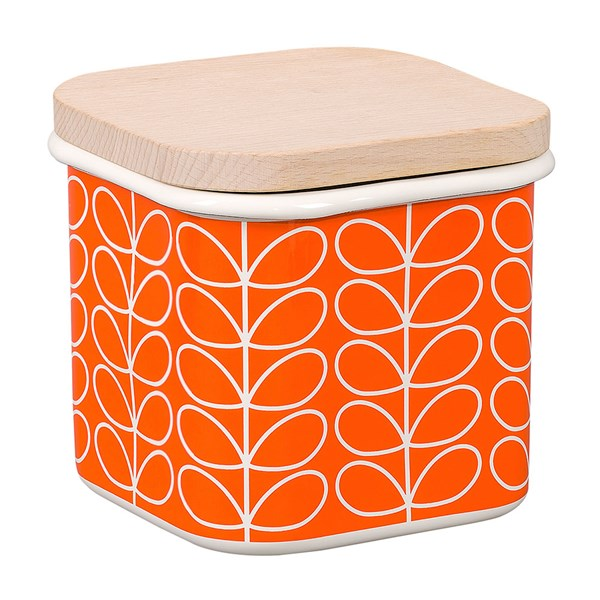 Orla Kiely Linear Stem Enamel Storage Jar in Persimmon Orange
