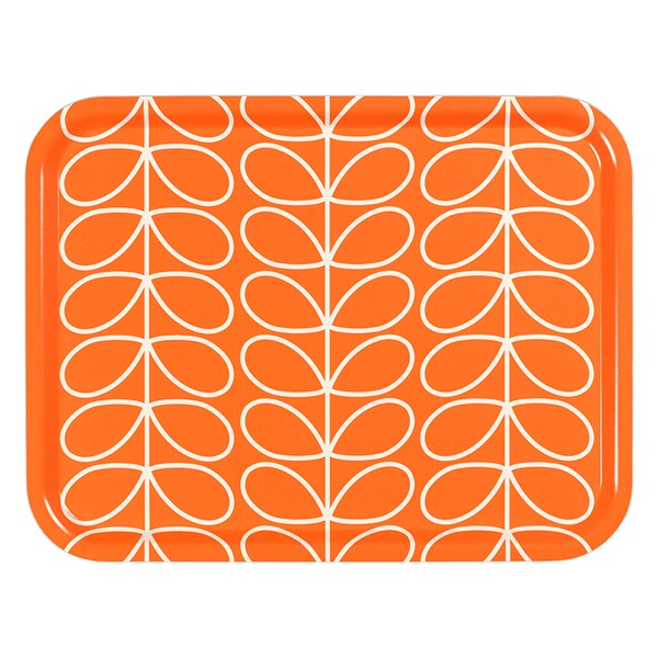 Orla Kiely Large Tray in Linear Stem Orange Persimmon Print