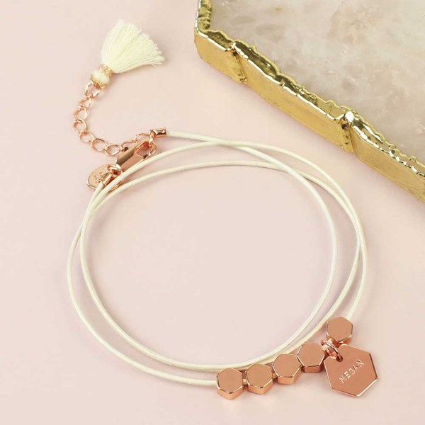 Personalised Hexagonal Bead and Leather Bracelet in Rose Gold