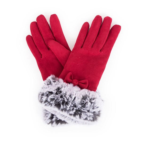 Powder Phillipa Faux Suede Gloves in Scarlett