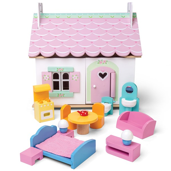 Le Toy Van Lily's Cottage Dolls House with Furniture Set
