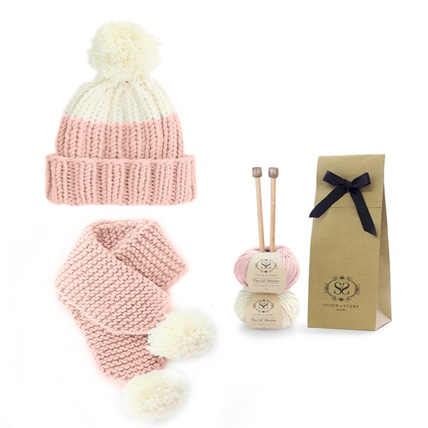 Snowdrops Child Beanie and Scarf Knitting Kit in Peach Pink