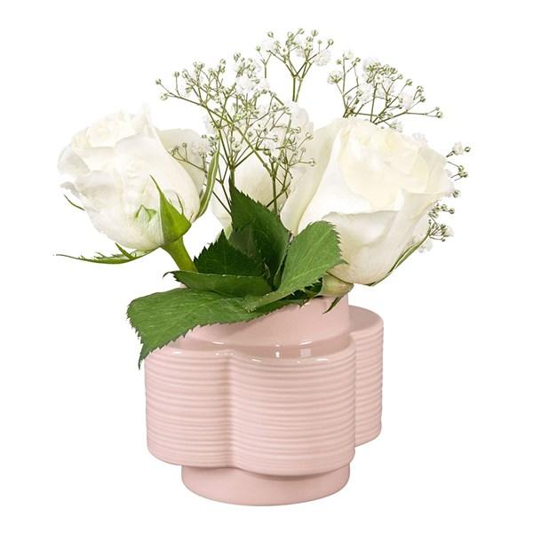 Orla Kiely Ceramic Stem Spot Flower Vase in Rose