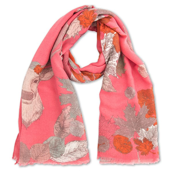 Powder Autumn Stag Print Scarf in Raspberry Pink