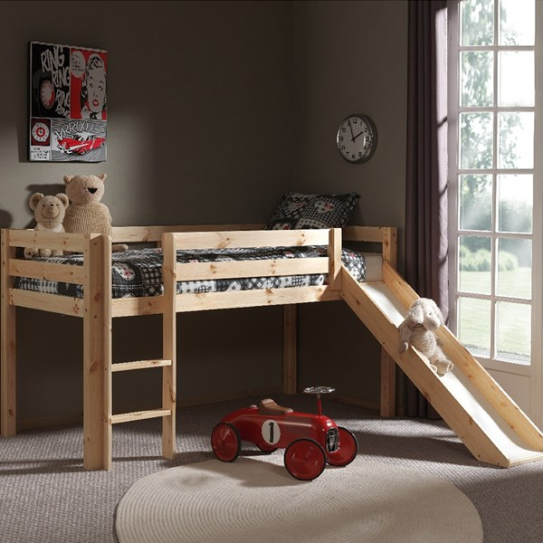 Pino Kids Mid Sleeper with Slide in Natural
