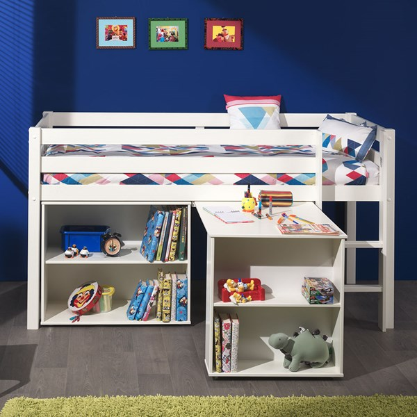 Pino Kids Cabin Bed with Desk and Bookcase
