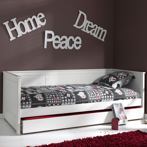 White Wooden Bed with Trundle Drawer