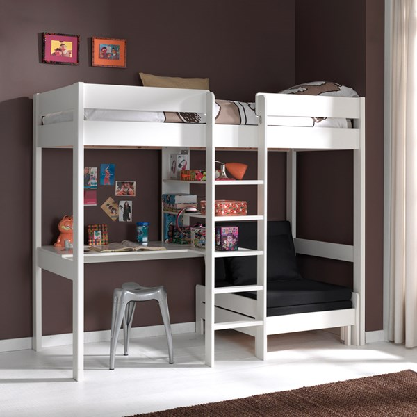 Pino Kids High Sleeper with Sofa Bed in White