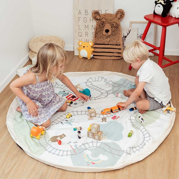 Play & Go Toy Storage Bag and Playmat in Fantasy Train Map
