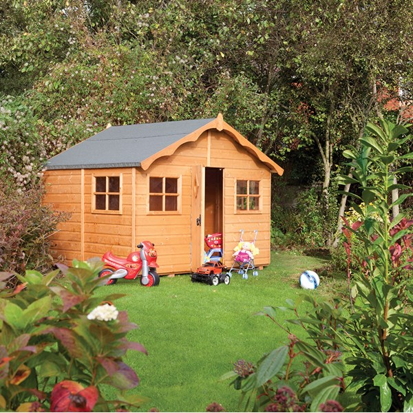 Playaway Lodge Wooden Playhouse in Honey Brown