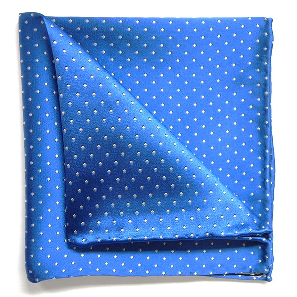 Blue and White silk pocket square