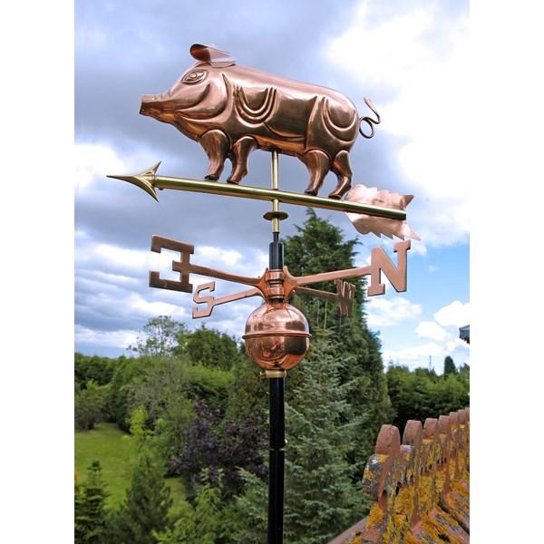 Pig Weathervane in Polished Copper 3D Design