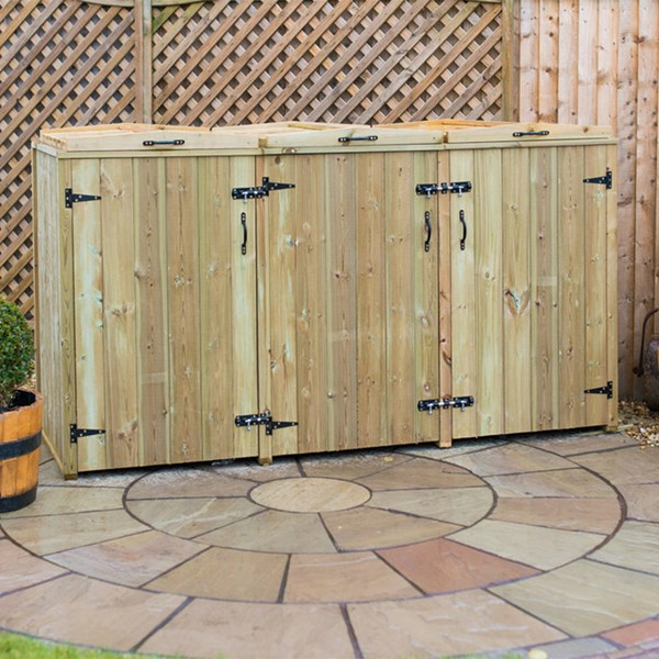 Triple Wooden Wheelie Bin Storage