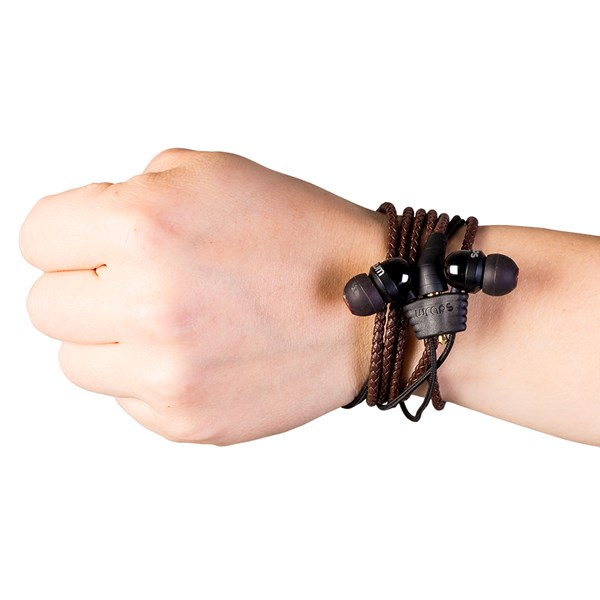 Wraps Premium Wristband Headphones With Microphone in Brown