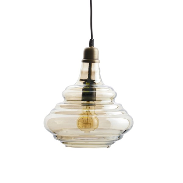 Pure Glass Ceiling Light in Antique Brass