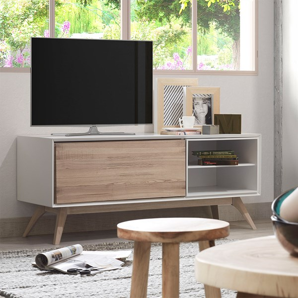 Small TV Stand with Two Shelves