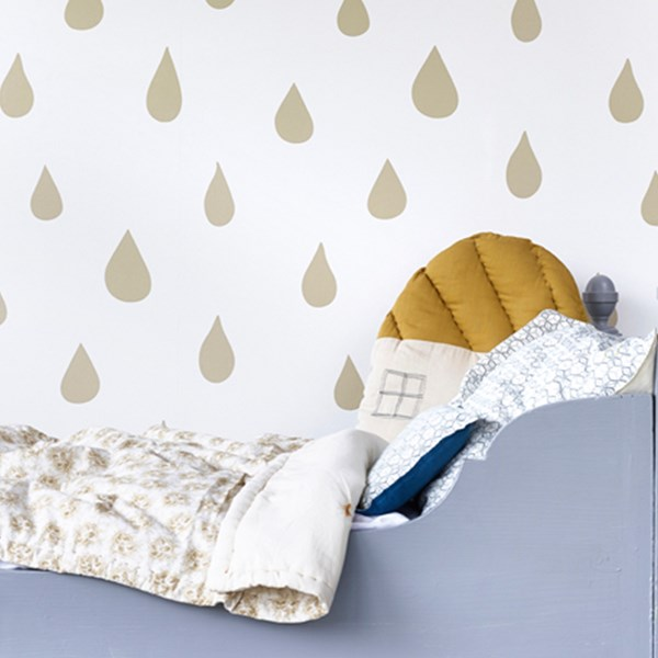 Childrens Raindrops Wallpaper in Gold
