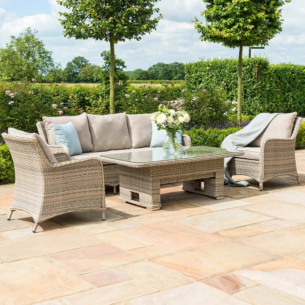 Maze Rattan Cotswold 3 Seat Sofa Dining Set With Rising Table Maze Rattan Cuckooland