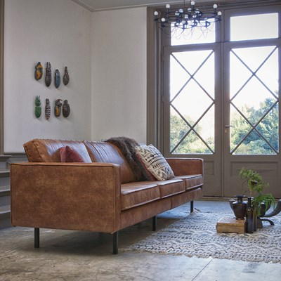 Rodeo 3 Seater Leather Sofa in Tan by BePureHome
