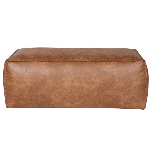 Rodeo Leather Pouffe in Tan