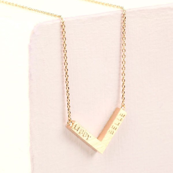 Personalised Small Chevron Necklace in Rose Gold