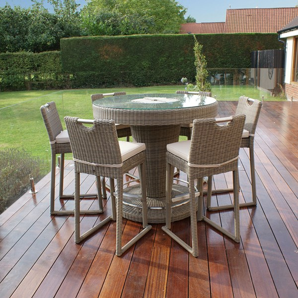 Maze Rattan Natural and Beige Garden Table and Chairs