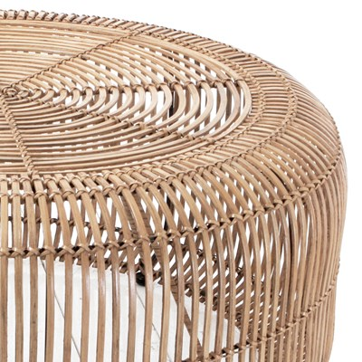 - Rattan Round Coffee Table In Natural Finish - Hk Living Cuckooland
